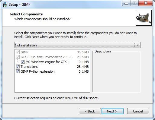 GIMP Python extensions window.