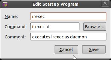irexec at startup / login