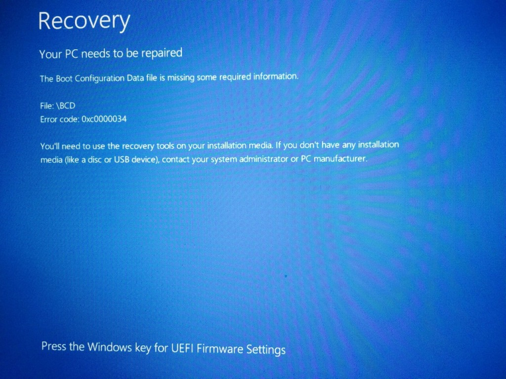 Windows 8 system recovery memory stick